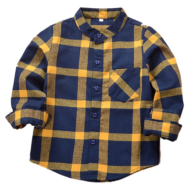 c977e71e9d1 SERAIALDA Baby Boys Girls Button Down Plaid Flannel Long Sleeve Shirt(2T-7T)