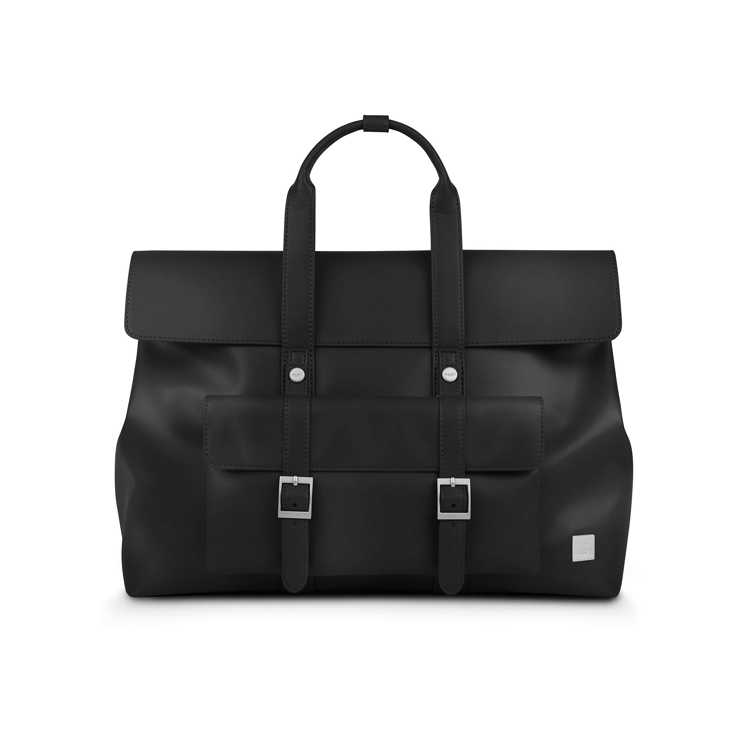 "Moshi Treya lite 13"" Notebook Laptop Briefcase Backpack, MacBook Satchel, Premium Vegan Leather Bag - Black"