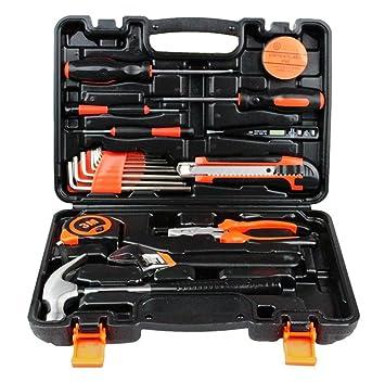Caja de herramientas de 19 piezas Kit básico de herramientas para el hogar con alicates Destornilladores y llave para proyectos de bricolaje y reparación ...