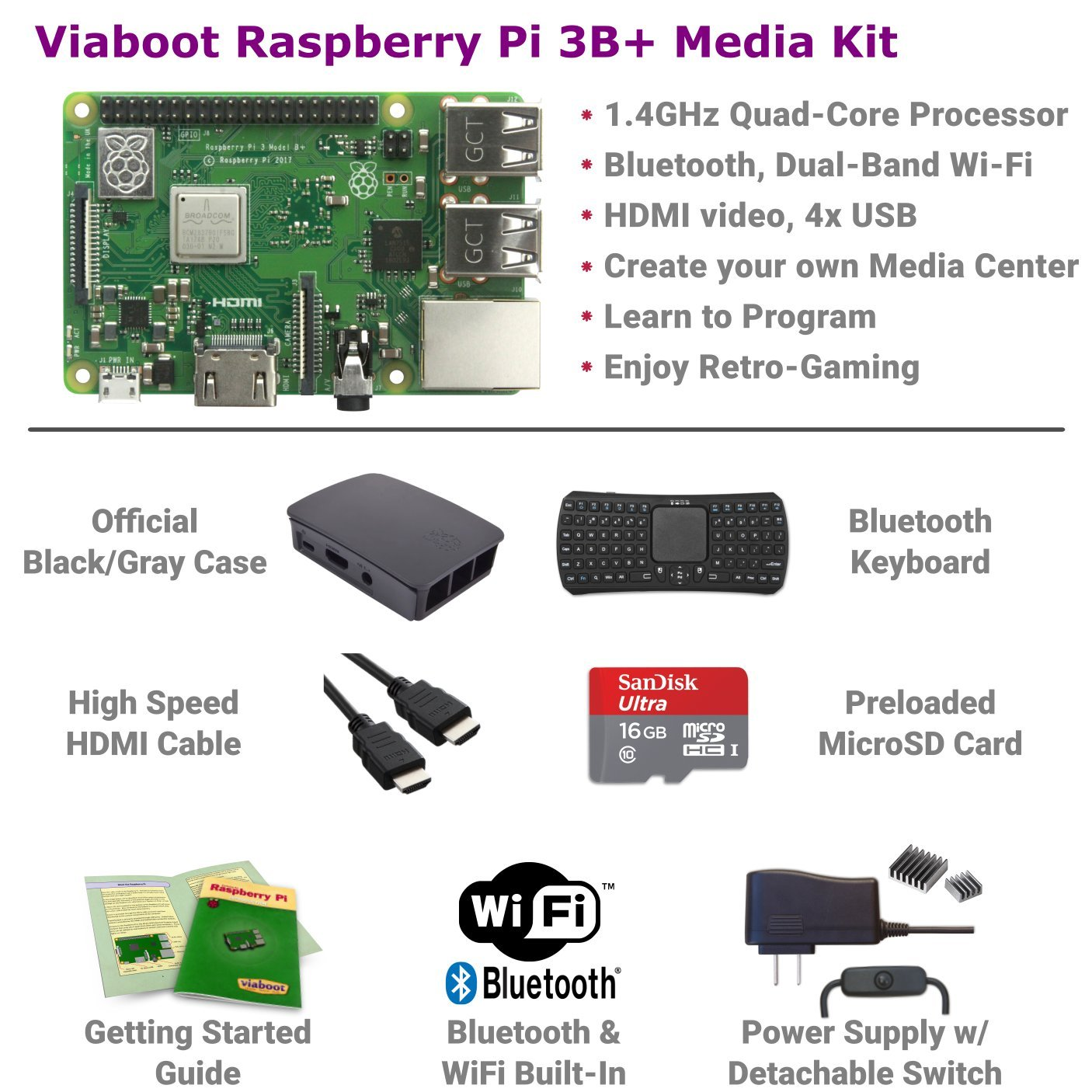 Viaboot Raspberry Pi 3 B+ Deluxe Kit — Official 16GB MicroSD Card, Official Rasbperry Pi Foundation Black/Gray Case, Bluetooth Keyboard Edition by Viaboot (Image #2)