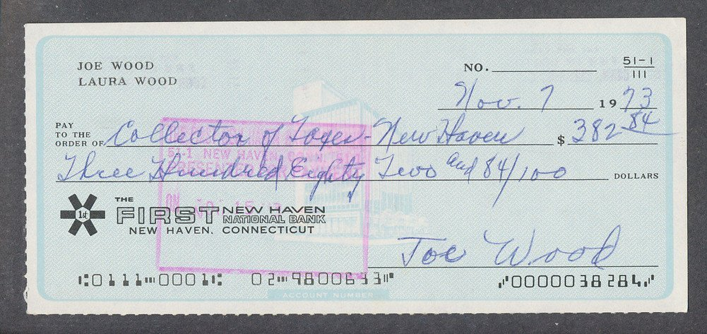 Autographed Smoky Joe Wood Signed Processed Canceled Check Autograph Signature*8284