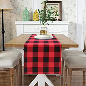 Red and Black Buffalo Checked Table Runner 14x108-Inch Plaid Table Runner Home Decor Christmas Table Runner Embroidery Lattice Table Overlay (14x108-Inch, Red and Black)