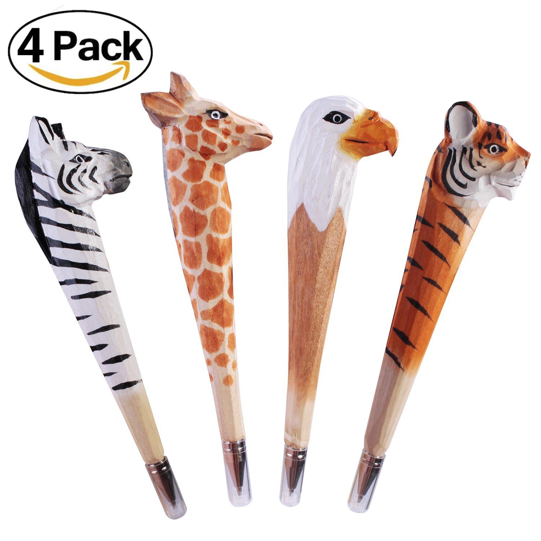 4 Pcs Wood Carved Animal Pen,Black Ink