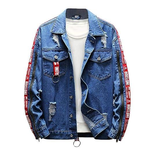 Geilisungren Herren Jeansjacke Knöpfe Jeans Jacket Sweatshirt Sweatjacke Männer Vintage Washed Destroyed Patchwork Denim Jack