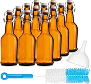 Chef's Star CASE of 12-16 oz. Easy Cap Beer Bottles with Funnel and Cleaning Brush - Amber