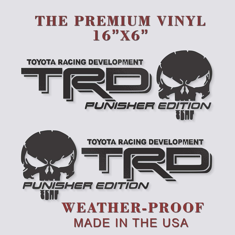 TRD PUNISHER EDITION Toyota Tacoma Tundra Vinyl Decal Truck Sticker Set Of 2