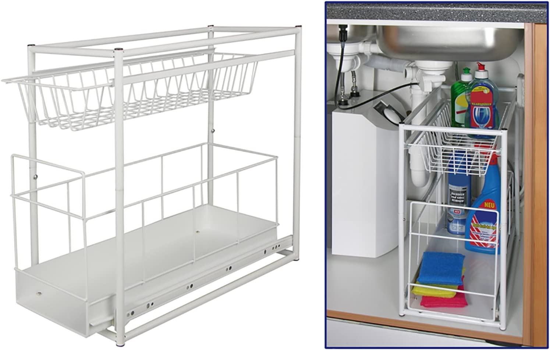 Under Sink Storage Rack Kitchen Unit Bathroom Cupboard Tidy 2 Tier Organiser