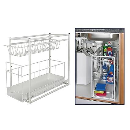 Astonishing Under Sink Storage Rack Kitchen Unit Bathroom Cupboard Tidy 2 Tier Organiser Home Interior And Landscaping Eliaenasavecom