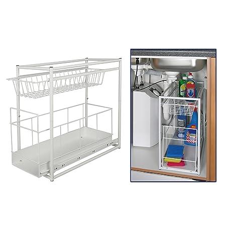 Under Sink Storage Rack Kitchen Unit Bathroom Cupboard Tidy 2 Tier