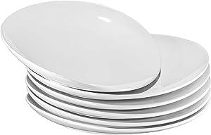 """Pro-Grade 11"""" Curved Ceramic Restaurant Dinner Plates, White, Set of 6"""