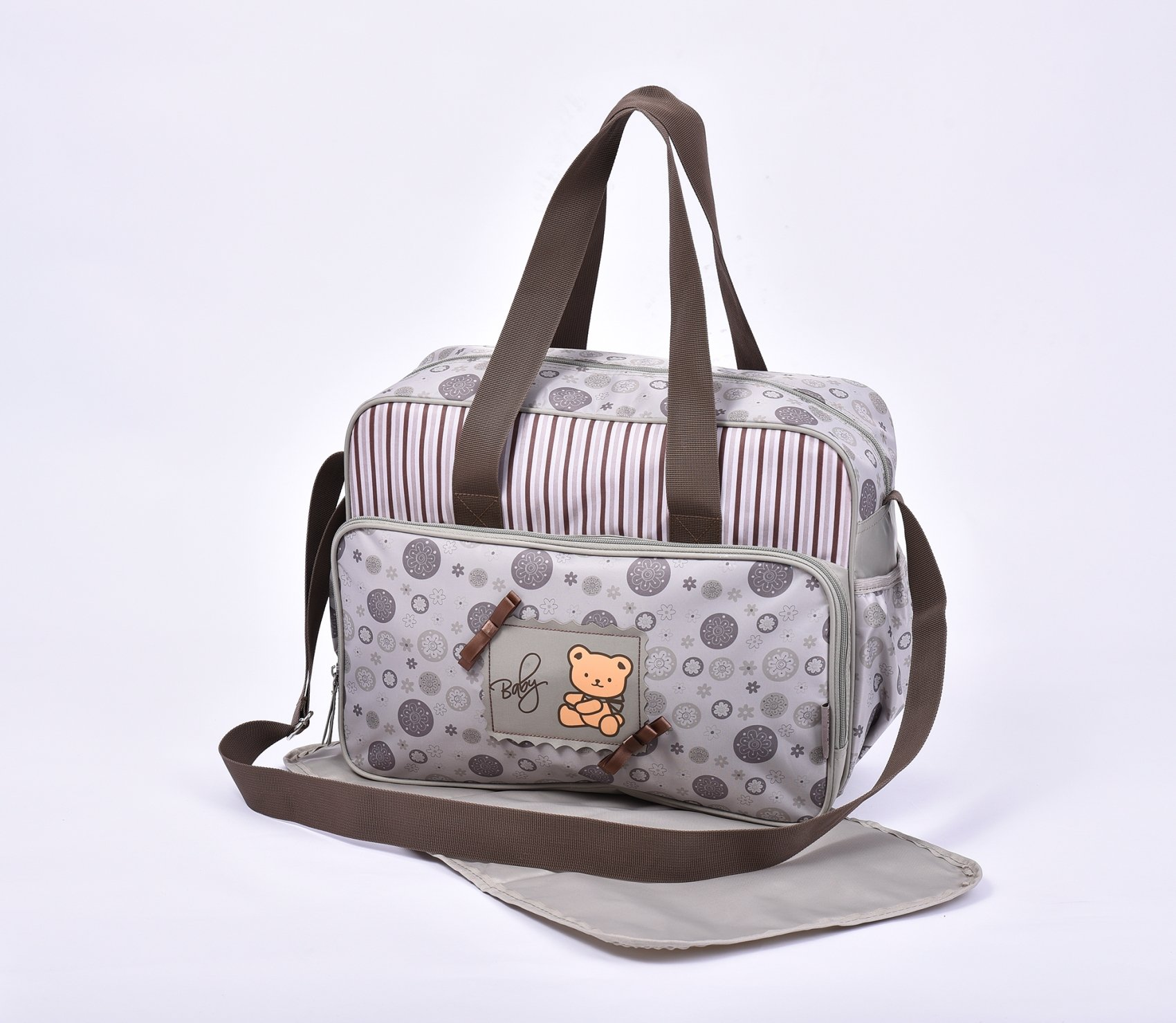 2160 Water Proof Waterproof Large Baby Nappy Changing Bags Diaper Hospital Bag (2160-Beige Bear)
