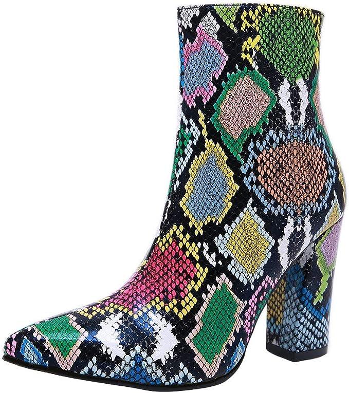 Otoño e Invierno Moda Multicolor Serpiente Sexy Botas de tacón ...