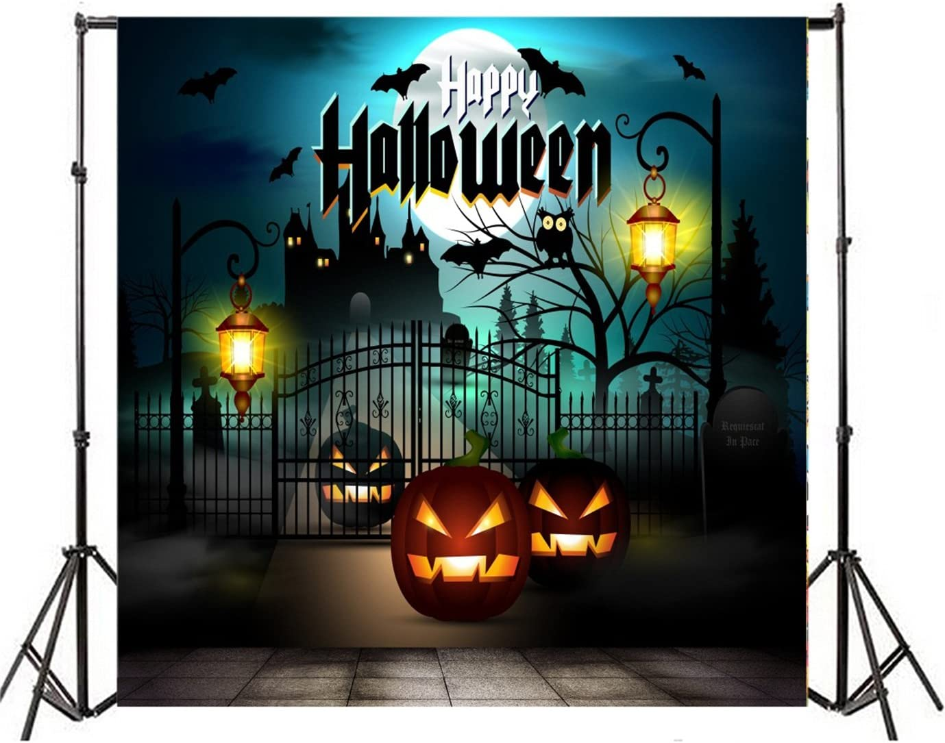 LTLYH 8x8ft Happy Halloween Backdrop Night Sky and Moon Pumpkin Lantern Scary Castle Photography Background Children Party Decorations Banner Photo Studio A018