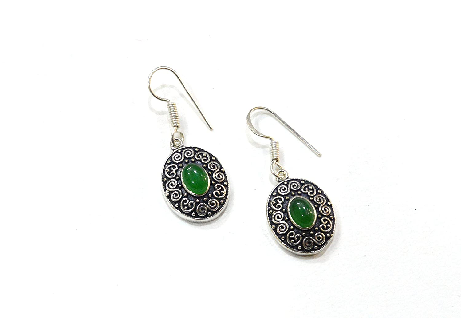 Silver Plated Natural Earrings for Girls Artificial Green Onyx Handmade Jewelry Fashion Earrings Highly Finished earings Most Attractive Earrings