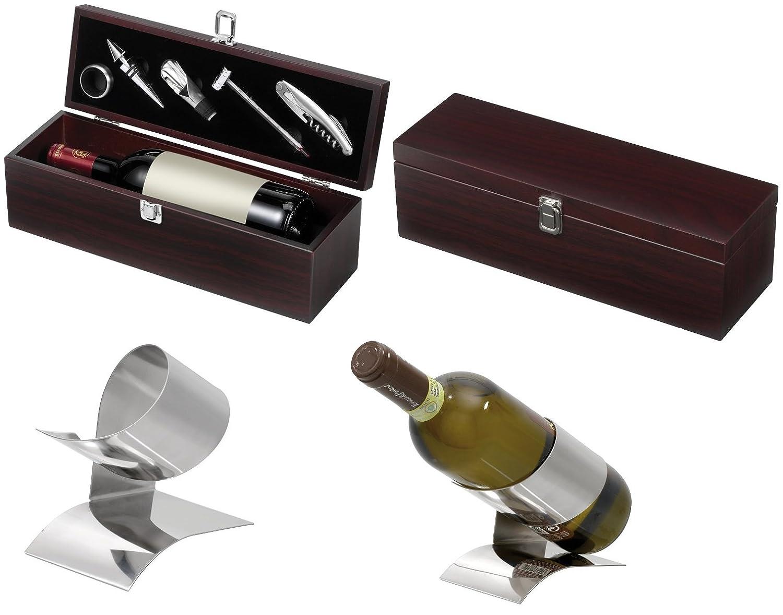 Weinkisten Geschenk mit Weinzubehö r Holzkiste + Weinstä nder im Exklusiven Design Weinbox mit Kellnermesser mit Hebelwirkung, 1 x Tropfenfä nger Preiswert&Gut