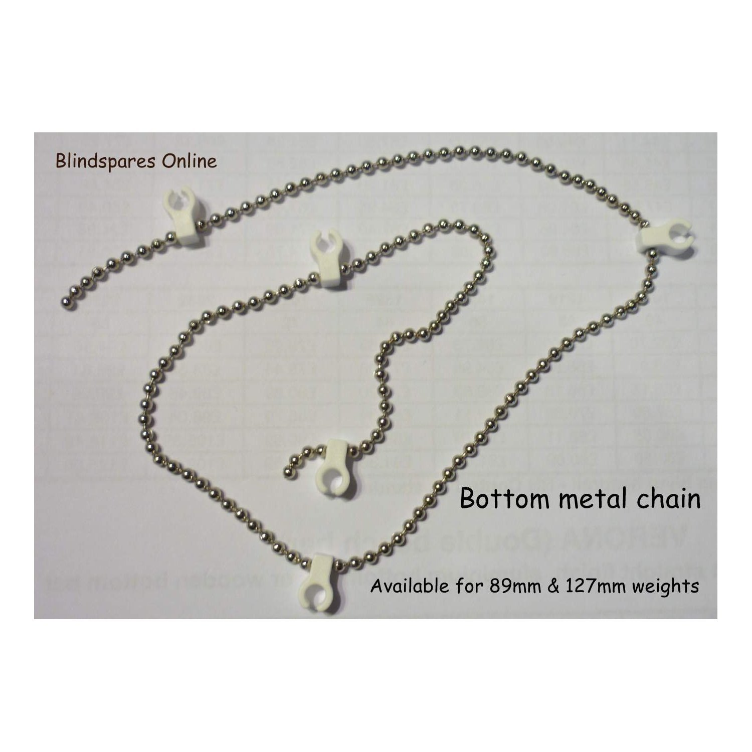 2 X White Bottom Chain for 127mm//5 100 Clips