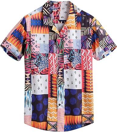 Dragon868 Camisas Sueltas Vintage Hombre Verano Camisa de Manga Corta con Cuello caído: Amazon.es: Ropa y accesorios