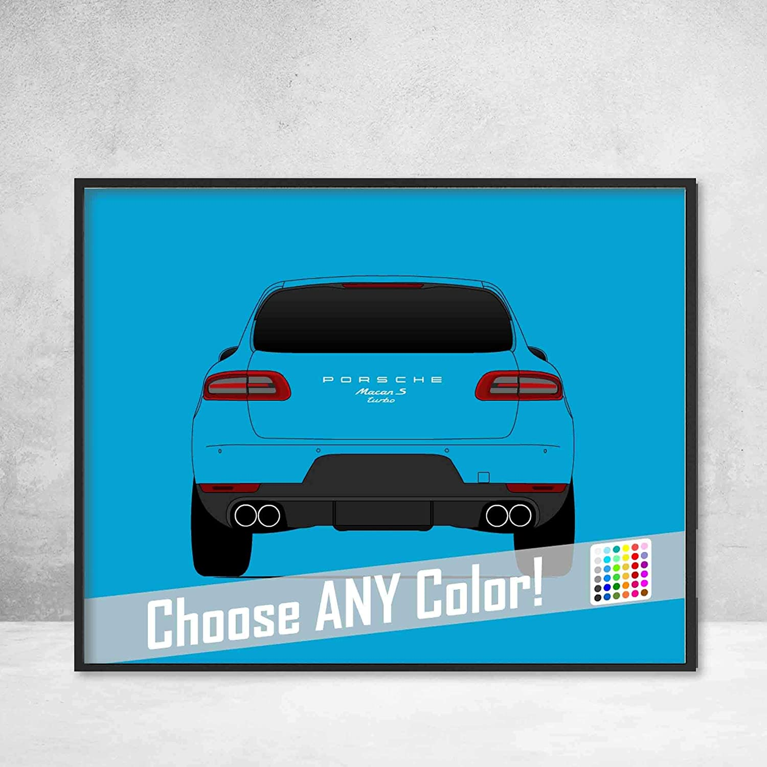 Amazon.com: Porsche Macan Turbo S Rear View Poster Print Wall Art Decor Handmade Type 95B GTS: Handmade