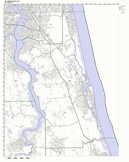 St Johns Florida Map.Amazon Com St Johns County Florida Fl Zip Code Map Not Laminated
