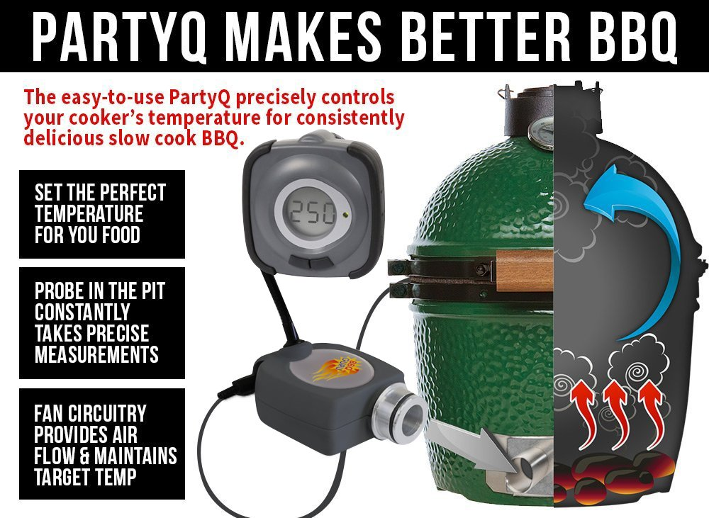 PartyQ BBQ Temperature Controller for Big Green Egg or Ceramic Cookers by BBQ Guru