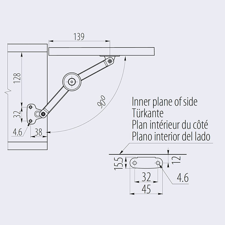 2 x SO-TECH/® Herraje para Puertas Elevables 75-100/° para Cercos de Madera o Aluminio