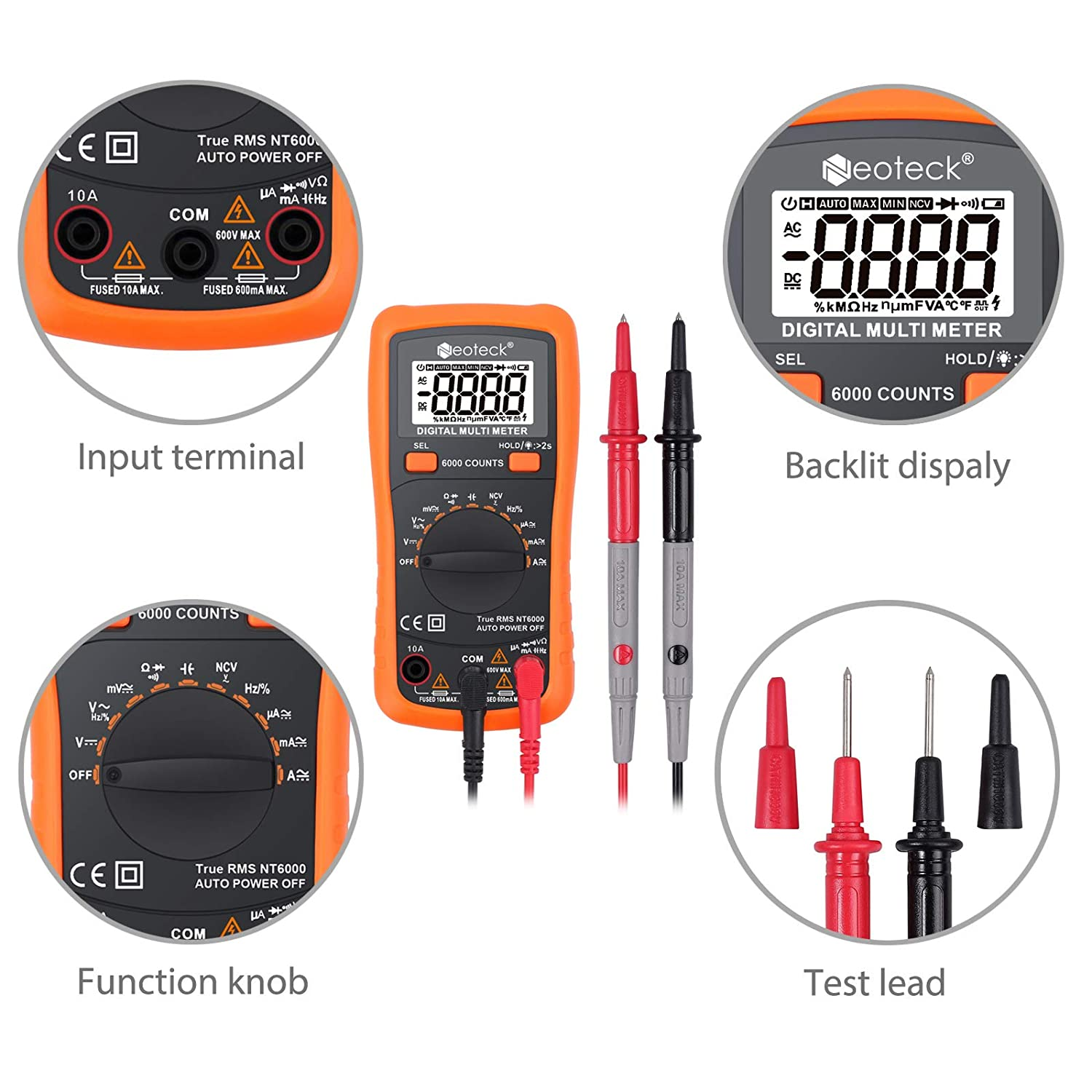 Transistor-Transistor Logic Neoteck 4000 Counts Digital Multimeter Auto Manual Ranging for AC//DC Volt Current Resistance Capacitance Frequency Temperature CMOS and TTL
