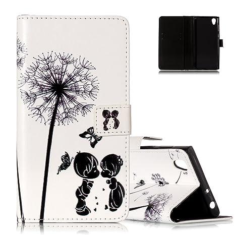 Aeeque Coque Sony Xperia L1 Blanc Motif Pissenlit Et Enfant Noir Folio Etui A Rabat Magnetique