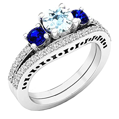 fb5e9bff3 14K White Gold 5.5 MM Round Gemstone And Diamond Ladies Engagement Ring  Set: Amazon.co.uk: Jewellery