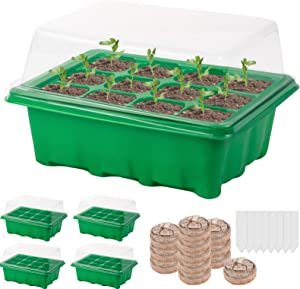 Starting Kit- 50 Pcs Peat Pellets, 4 Pcs of 12 Cell Mini Greenhouse Garden Seedling Starter Trays and 50 Blank Labels for Propagating