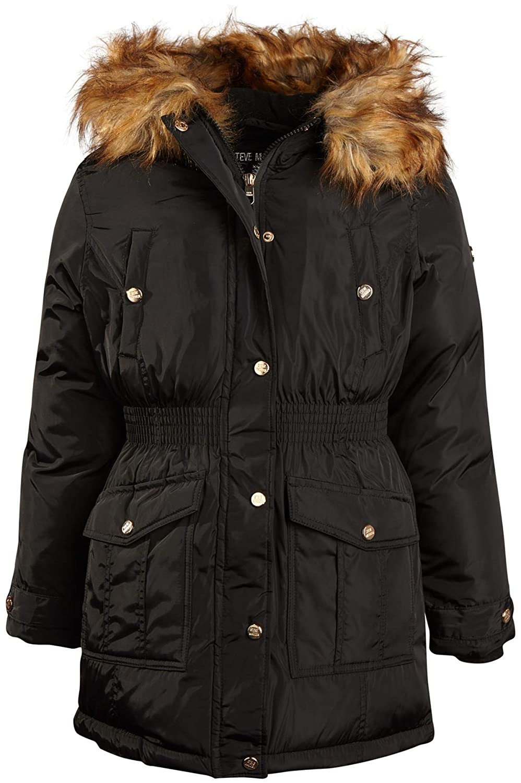 Steve Madden Girls Anorak Jacket with Fur Hood