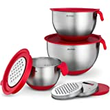 Stainless Steel Mixing Bowls with Lids - Nesting Bowls with Graters, Handle, Pour Spout, Airtight Lids - Non-Slip Mixing…