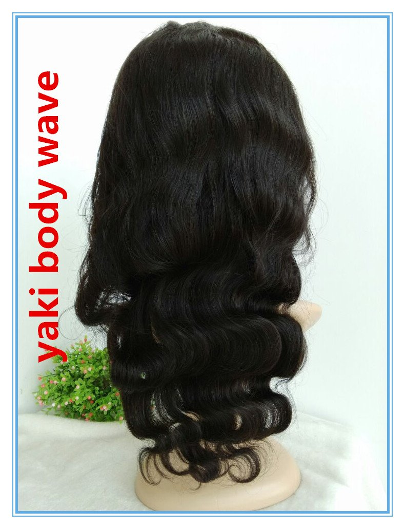 100% HUMAN HAIR Indian remy,16inch,off black YAKI BODY WAVE FULL LACE WIGS,SILK TOP -BW0081