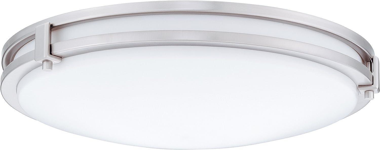 Lithonia Lighting FMSATL 13 14830 BN M4 LED Saturn Flushmount Ceiling Light Fixture for Kitchen   Hallway   Bedroom, Dimmable, 3000K, Antique Brushed Nickel