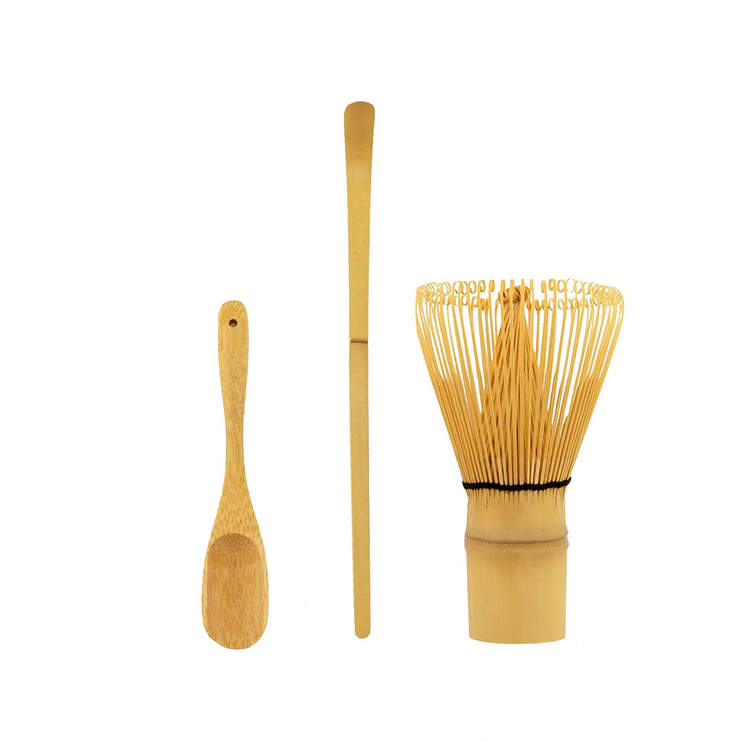 BambooMN Matcha Whisk Set - Black Chasen (Tea Whisk) + Black Chashaku (Hooked Bamboo Scoop) + Black Deep Scoop - 1 Set 6955114960105a