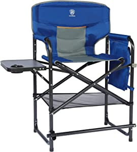 EVER ADVANCED Medium Tall Directors Chair Foldable Makeup Artist Chair Bar Height with Side Table Cup Holder and Storage Bag Footrest, Supports 300LBS (Blue)