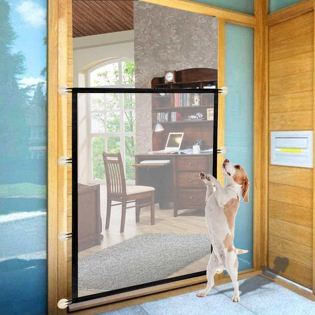 40X60 Inch Magic Gate Heighten Size Hund Gate 14 Hooks Portable Folding Pet Gate Safe Guard Isolated Gauze Indoor und Outdoor Install Anywhere (Black)