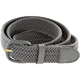 """Belts.com Leather Covered Buckle Woven Elastic Stretch Belt, Gray, (L(37""""-39"""")"""