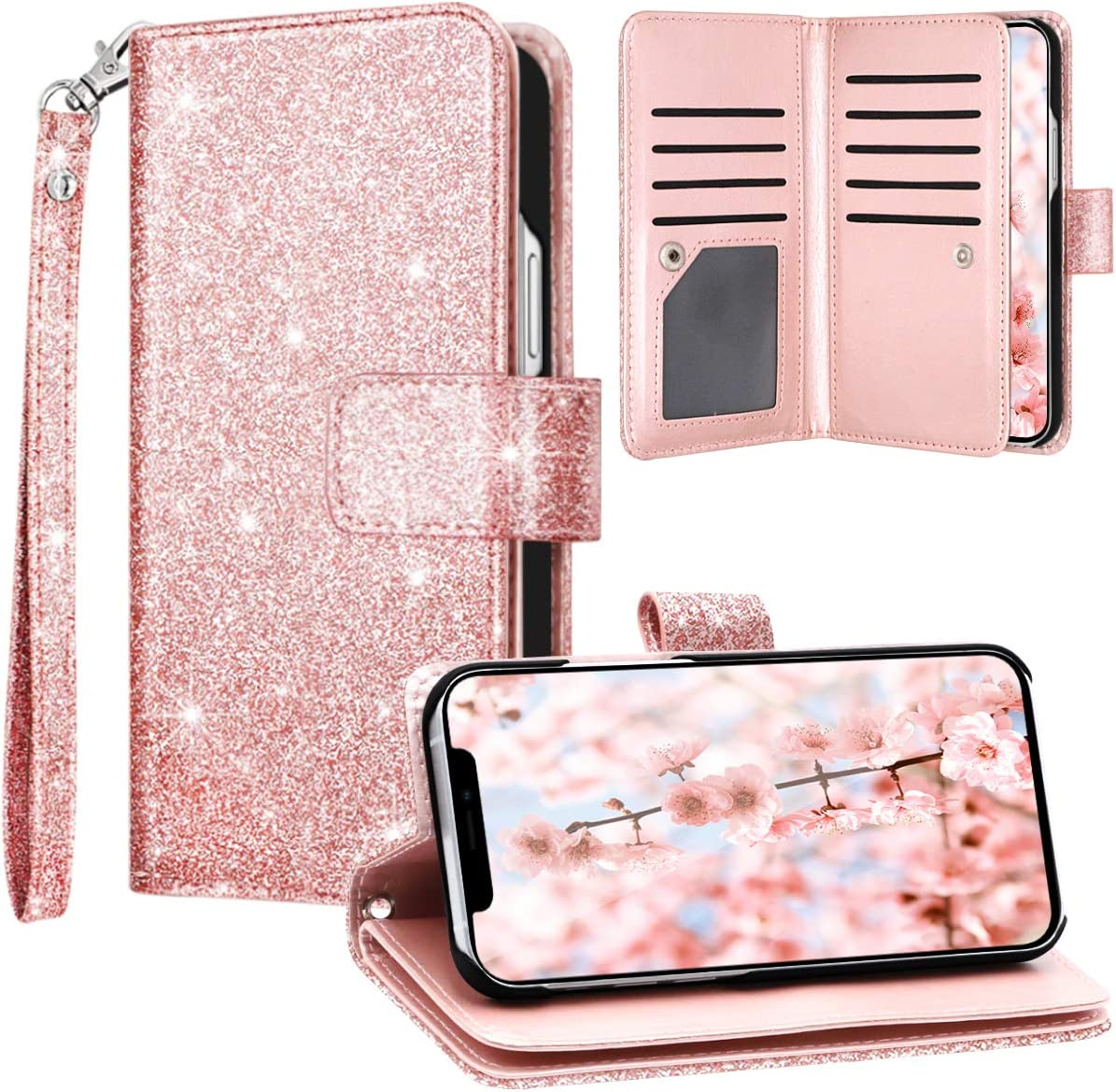 Fingic Compatible with iPhone 12 Mini Case Wallet Case Glitter Sparkle Cover 9 Card Holder PU Leather Detachable Wrist Strap Wallet Case for Women Cover for Apple iPhone 12 Mini 5G 2020, Rose Gold