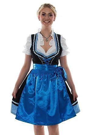 b5a49ebd6df10f Bavarian Clothes Dirndl Trachtenkleid Kleid 3Tlg. mit Dirndlbluse und Schürze  Gr: 34-58