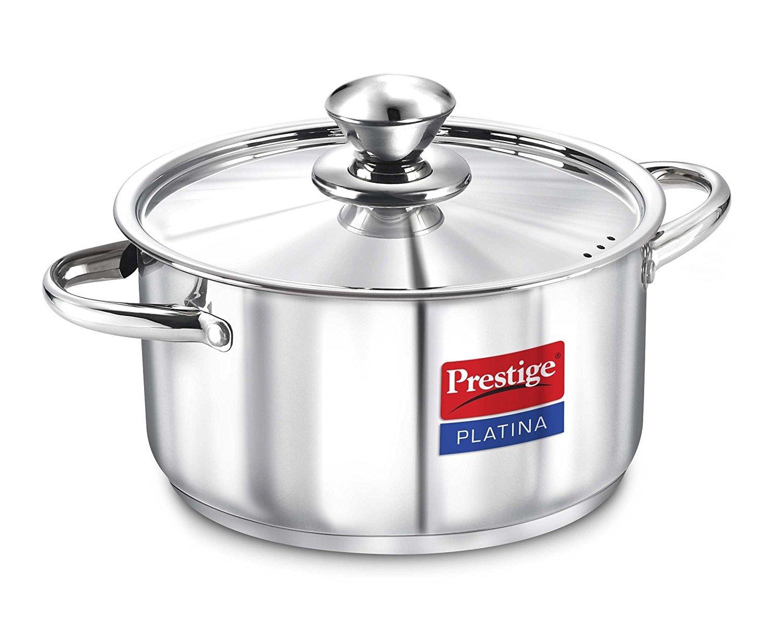 Prestige Platina Induction Base Stainless Steel Casserole, 240mm/5.7 Quart, Metallic Steel