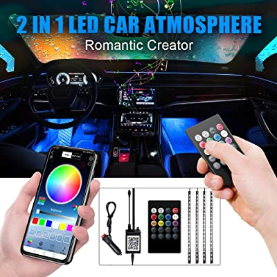 Car LED Strip Light, Upgraded Remote and APP Two-in-one Control Multicoloured Music Car Interior Lights, 4pcs 48 LED, Sound Active Function, Waterproof, Multi-Mode Change(DC 12V): Automotive