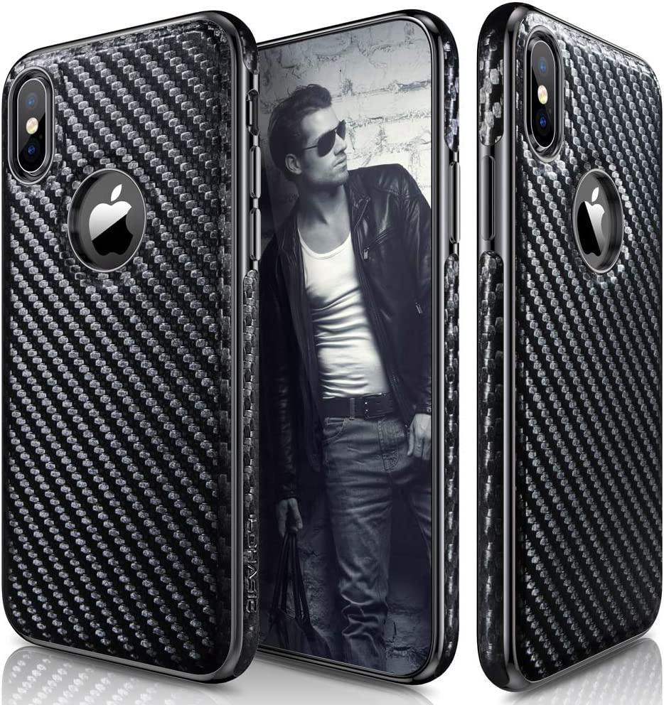 iPhone Xs Case, iPhone X Case LOHASIC Leather Carbon Fiber Slim & Thin Luxury PU Soft Flexible Anti-Slip Scratch Resistant Protective Cover for Apple iPhone X XS New Version (2018) - Carbon Fiber