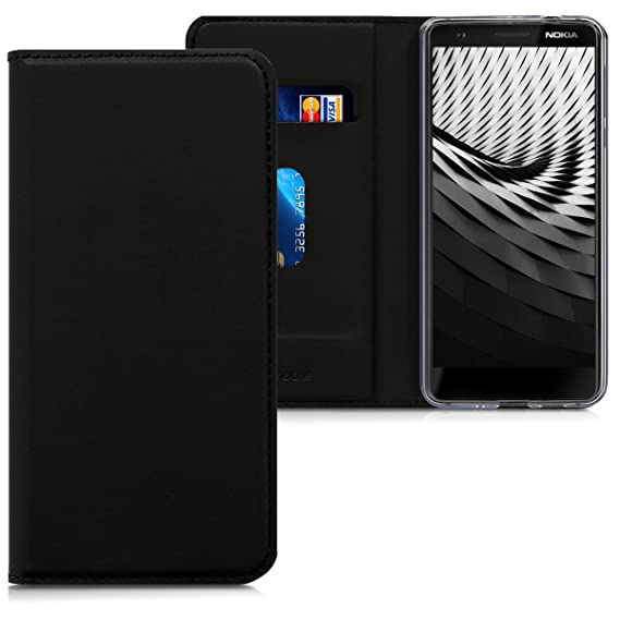 premium selection 85511 eeb4d kwmobile Flip Case for Nokia 3.1 (2018) - Smooth PU Leather Wallet Folio  Cover with Stand Feature - Black