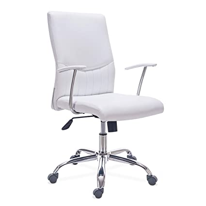 Adec – Sweet, Silla de Escritorio, Silla de despacho, Silla de Oficina símil Piel Color Blanco, Medidas: 62 x 62 x 100-110 cm de Alto