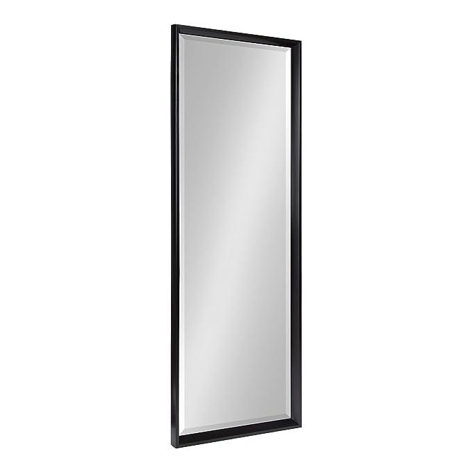 Kate and Laurel Calter Modern Framed Full Length Beveled Wall Mirror, 17.5x49.5 Black