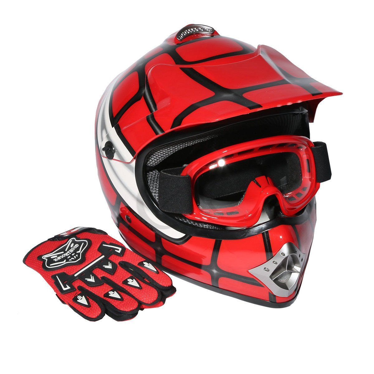 XFMT Youth Kids Motocross Offroad Street Dirt Bike Helmet Goggles Gloves Atv Mx Helmet Black Skull L