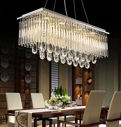 Tremendous Siljoy L47 Contemporary Crystal Chandelier Rectangle Modern Dining Room Light Fixture With Frosted Crystal Rods Download Free Architecture Designs Madebymaigaardcom