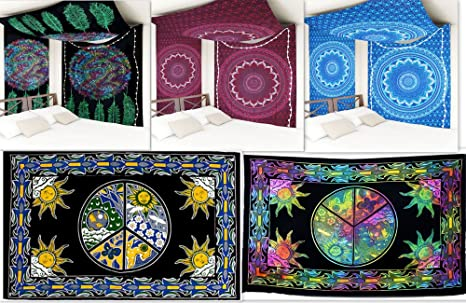 Futuro Hecho a mano al por mayor paquete de 5 Doble Tapices Mandala tapiz indio al ...
