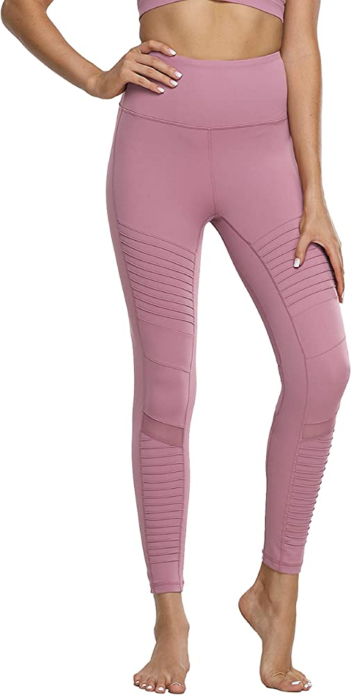 Womens High Waist Yoga Pants Ankle Moto Leggings Workout Tights