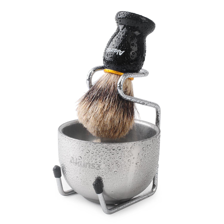 Shaving Set, AKUNSZ Shaving Brush Kit: Pure Badger Hair Shaving Brush with wooden handle + 3.2'' Stainless Steel Shaving Bowl + Shaving Brush Stand - Wet Shaving Kit